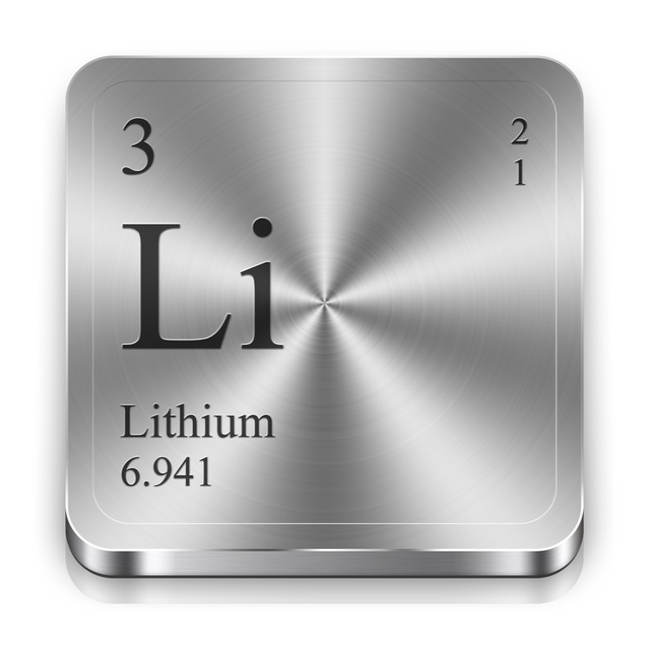 Image of a table of chemistry square for lithium.